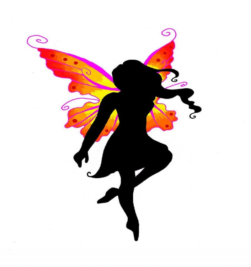 Black curly-haired fairy silhouette with orange-and-purple wings tattoo design by Yua San