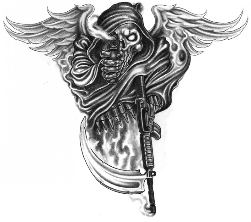 Black death warrior with angel wings and guns tattoo design