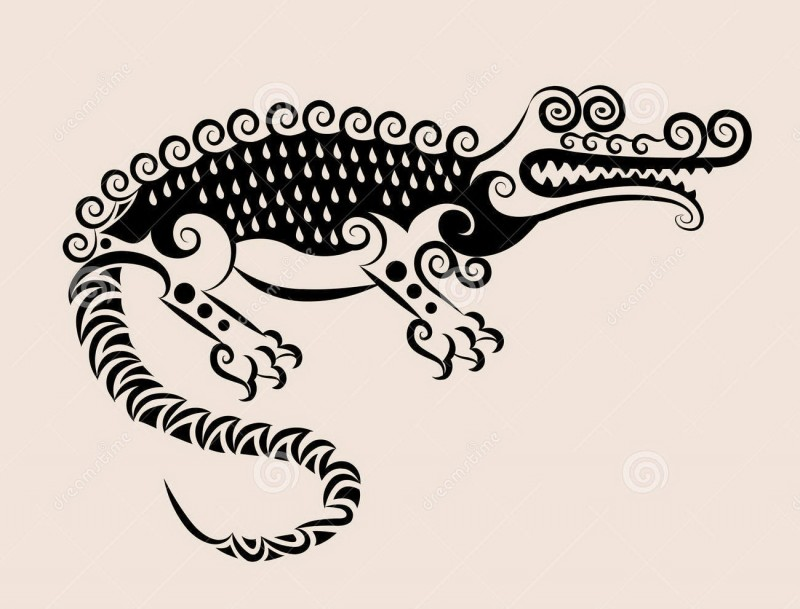 Black decorative reptile with curled back tattoo design