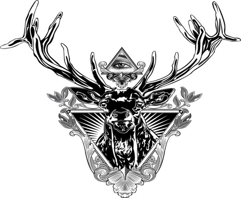 black deer in original frame and illuminati tattoo design