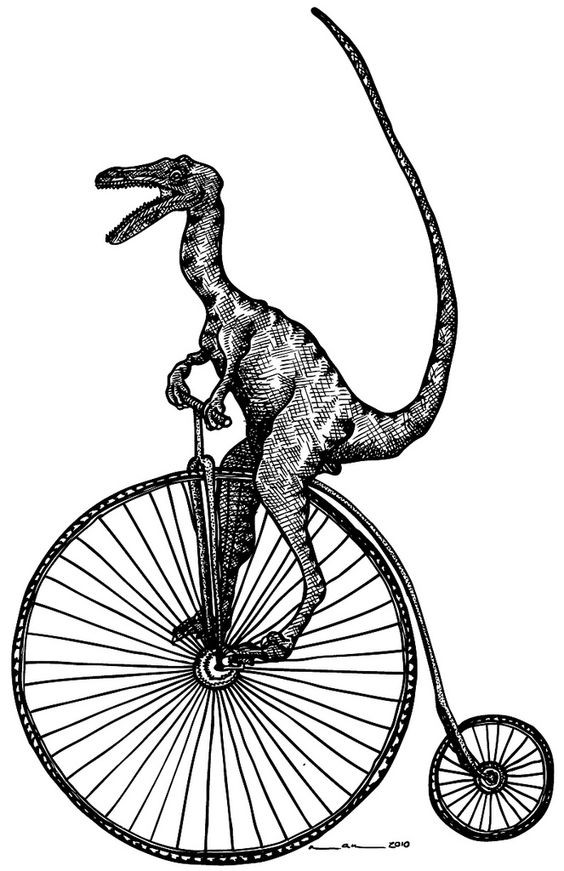 Black dinosaur riding a bicycle tattoo design