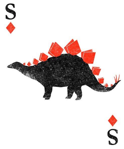 Black dinosaur with bright red horhed mane tattoo design