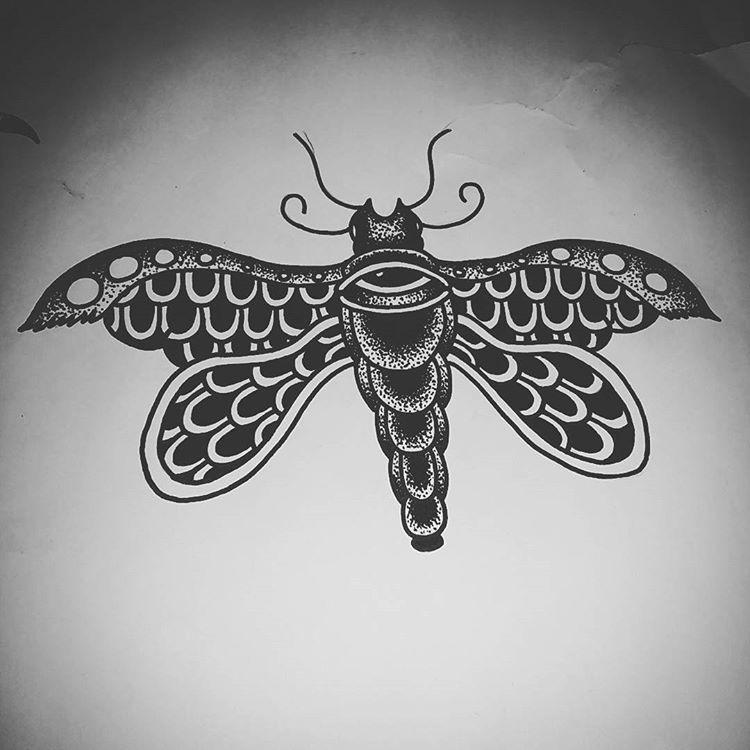 Black dotwork scale-patterned moth tattoo design