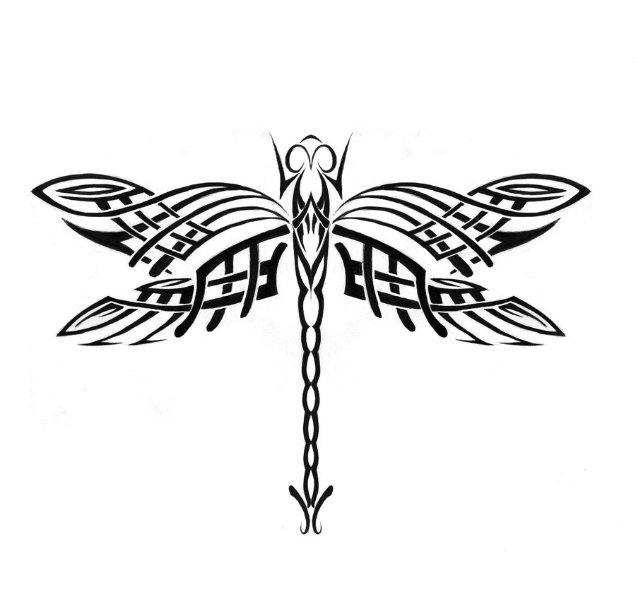 Black dragonfly with celtic-ornamented wings tattoo design by Dhamn