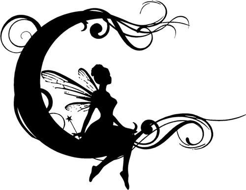 Black elegant fairy sitting on curly moon tattoo design