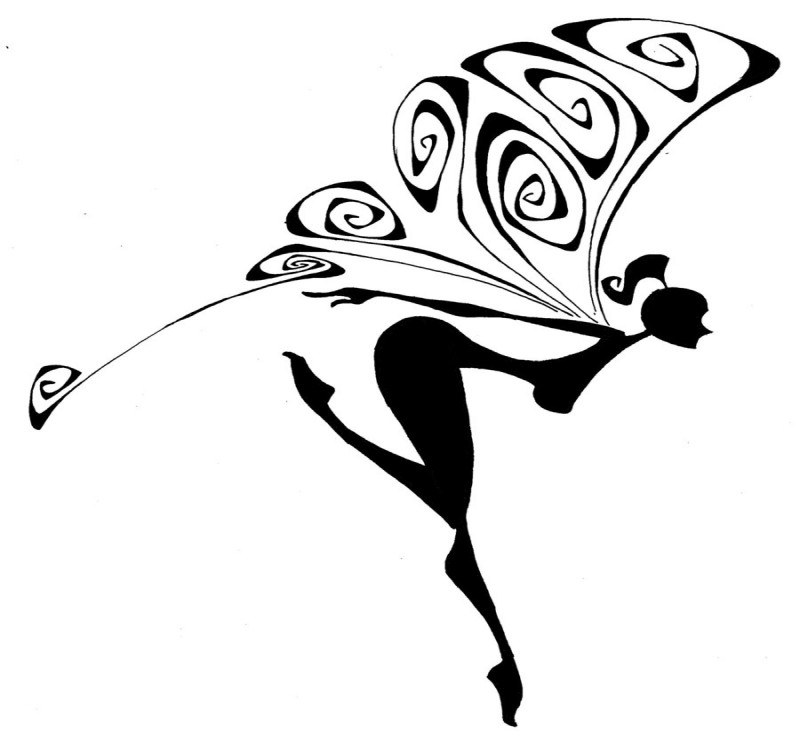 Black fairy silhouette with curly-patterned wings tattoo design by Marc0f