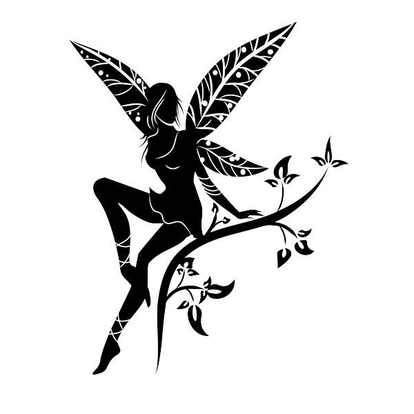 Black fairy silhouette with leaf-printed wings sitting on branch tattoo design