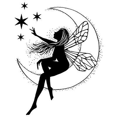 Black fairy sitting on white half moon dreaming about stars tattoo design