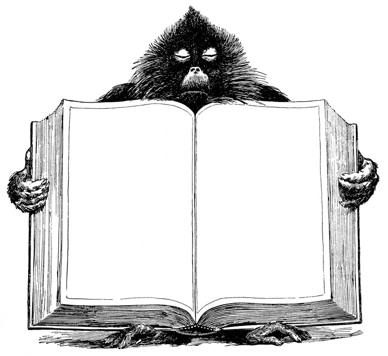 Black fluffy baboon with huge open book tattoo design