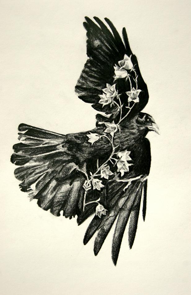 Black flying raven and white flowered stem tattoo design