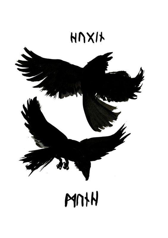 Black flying ravens and rune lettering tattoo design