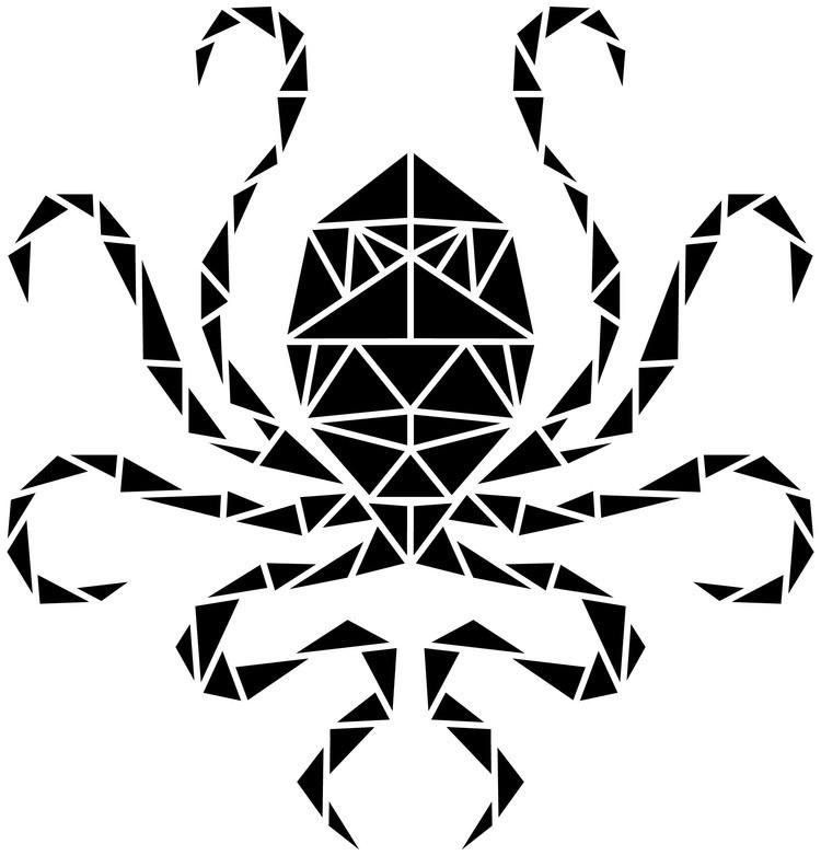 Black geometric-style water animal tattoo design