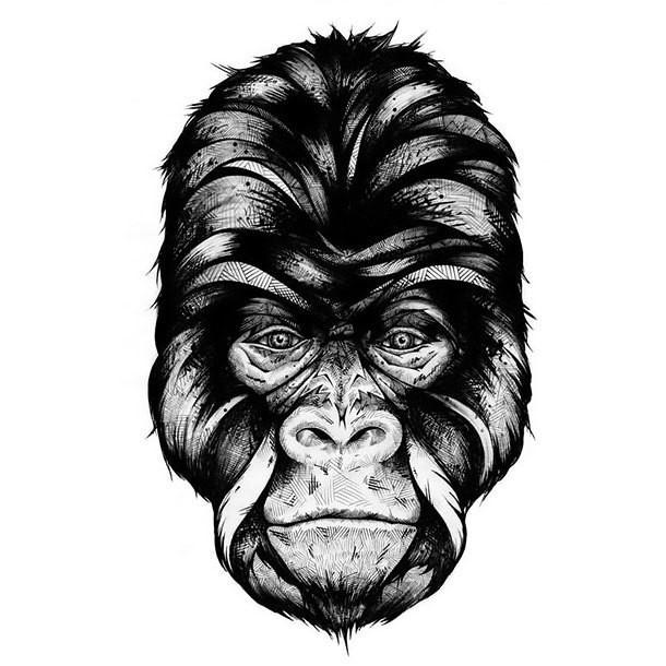 black gorilla head with geometric pattern tattoo design. Black Bedroom Furniture Sets. Home Design Ideas