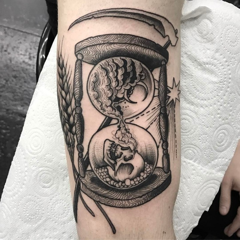 Black grey hourglass with dead tattoo