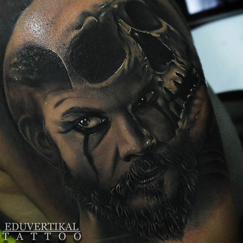 Black grey portrait viking with skull tattoo by Eduvertikal