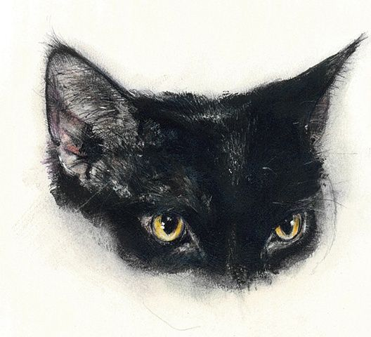 Black half-muzzle cat with cunning eyes tattoo design