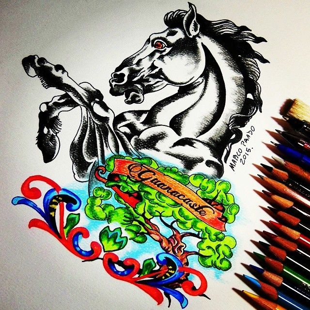 Black jumping horse and brigth colorful tree with curles tattoo design
