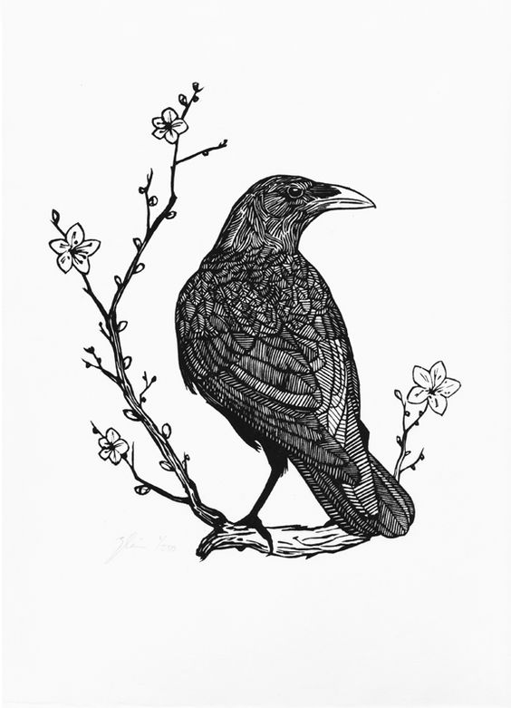 Black lined raven sitting on flowered branch tattoo design