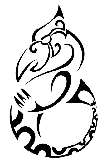 Black maori-patterned seahorse tattoo design