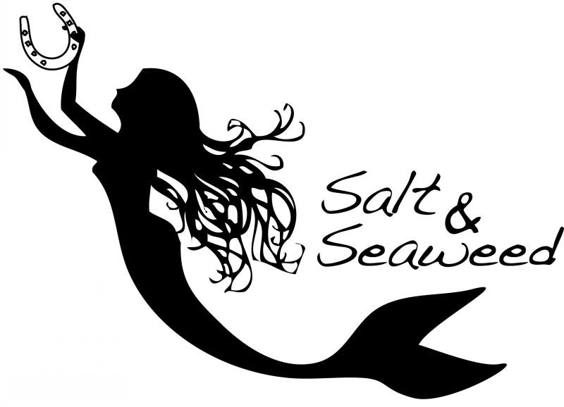 Black mermaid silhouette with horseshoe tattoo design