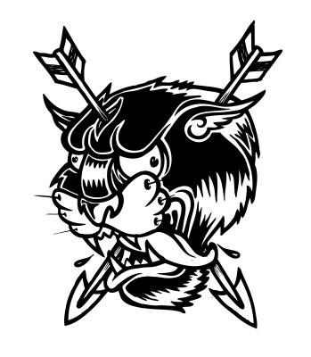 Black Old School Animal Head Pierced With Arrows Tattoo Design