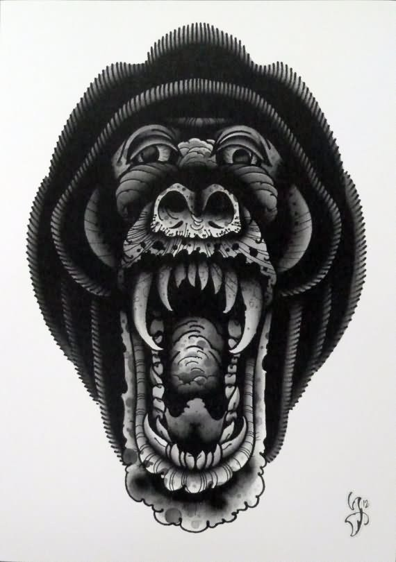 Black old school crying gorilla face tattoo design