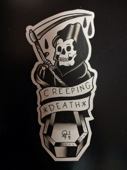 Black old school death with blooded scythe and curly banner tattoo design