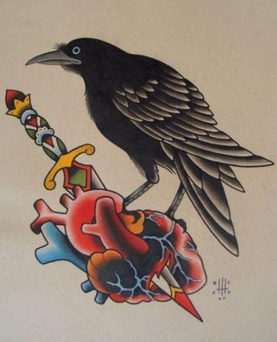 Black old school raven and colorful human headt killed with dagger tattoo design