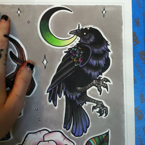 Black Old School Raven And Green Moon Tattoo Design Tattooimagesbiz