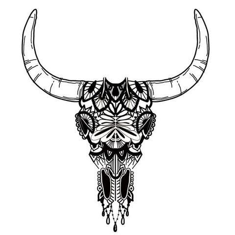 black ornate bull skull with big horns tattoo design. Black Bedroom Furniture Sets. Home Design Ideas