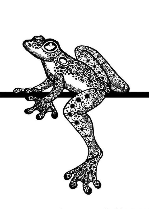 Black ornate dreaming reptile sitting on stick tattoo design