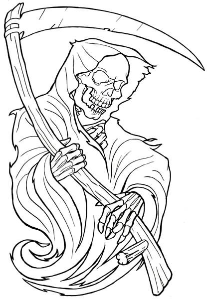 Black outline cartoon death with an evil grin tattoo design