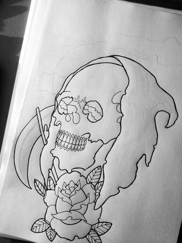 Black outline death skull with a rose bud tattoo design by Hausofch