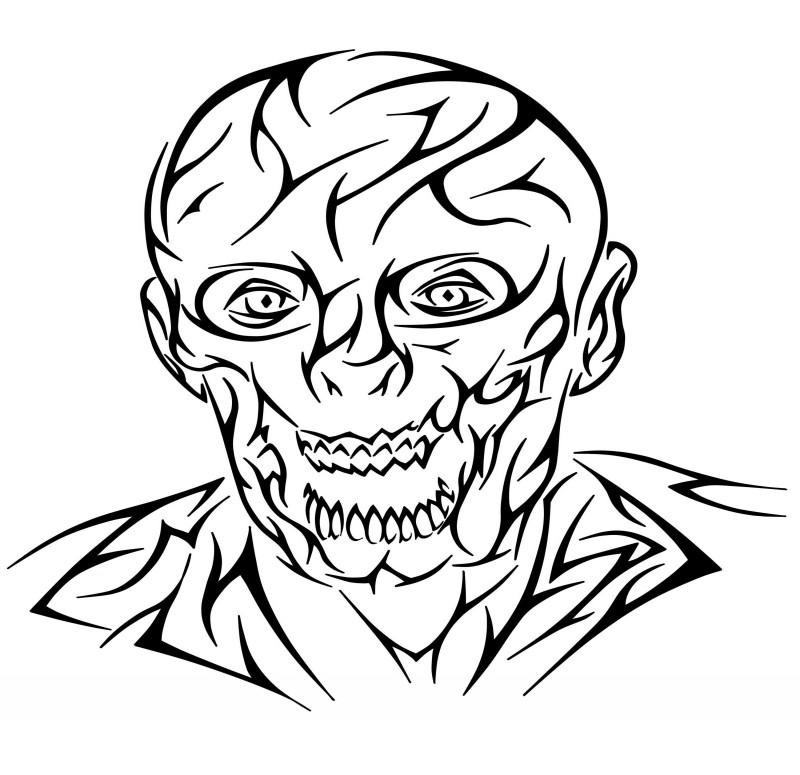 Black outline zombie man portrait tattoo design