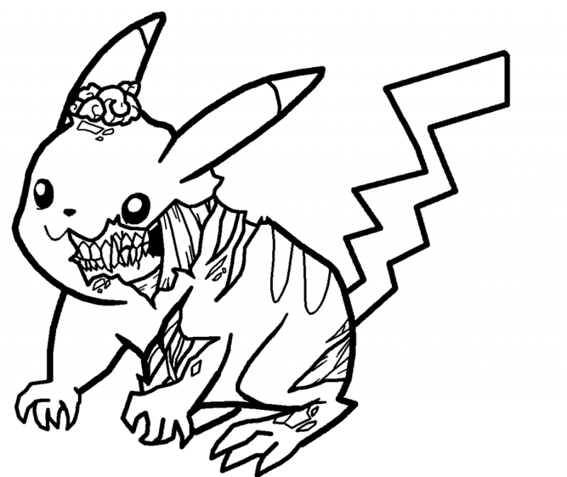 Black outline zombie pikachu tattoo design by Xbox DS Gameboy