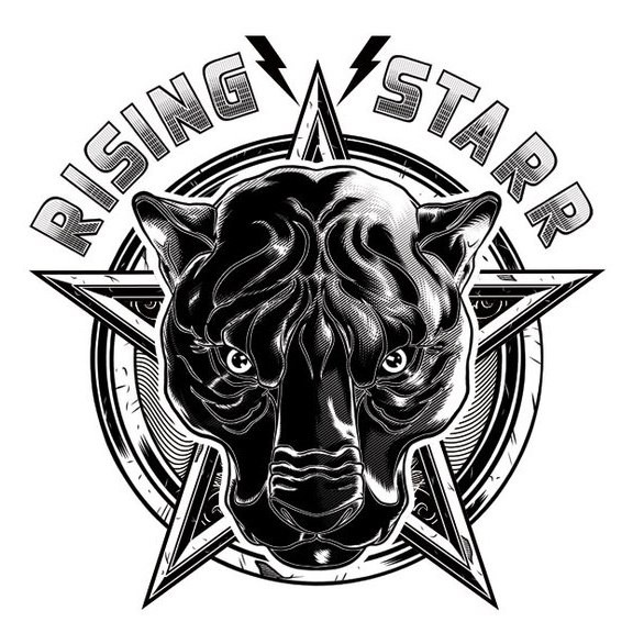 Black panther head on star background with printed lettering tattoo design