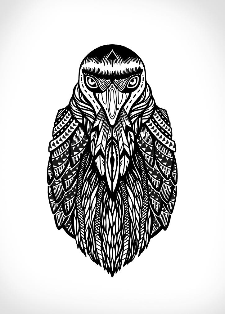 Black patterned raven portrait tattoo design
