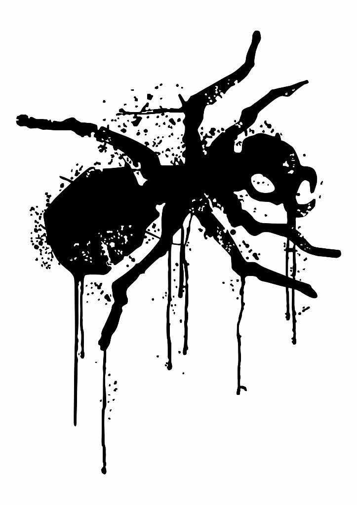 black prodigy ant logo in smudges tattoo design. Black Bedroom Furniture Sets. Home Design Ideas