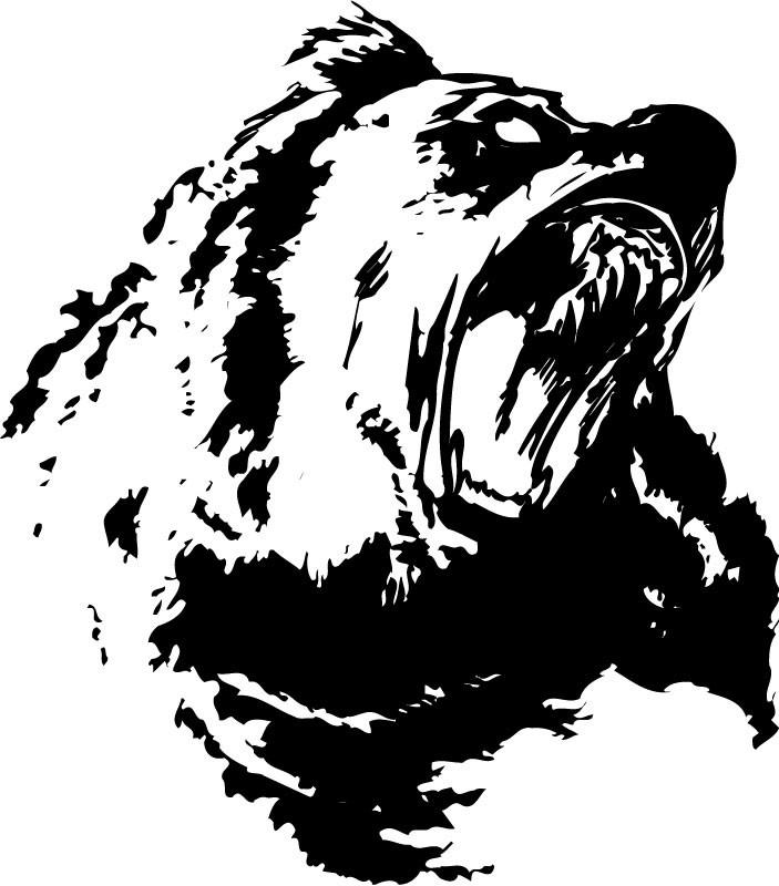 Black rageful grizzly bear tattoo design