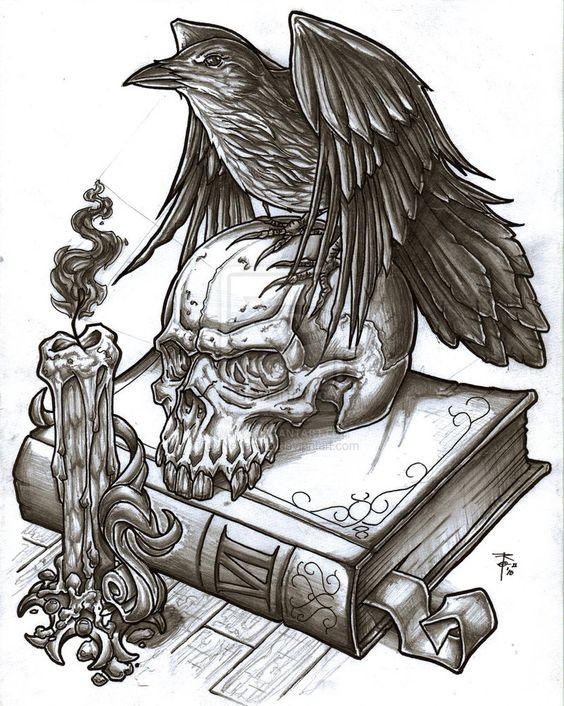Black raven sitting on skull and book with candle tattoo design