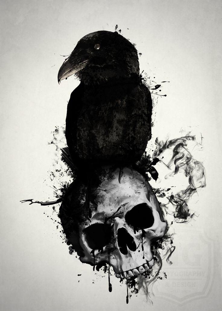 Black raven sitting on skull in black smoke tattoo design
