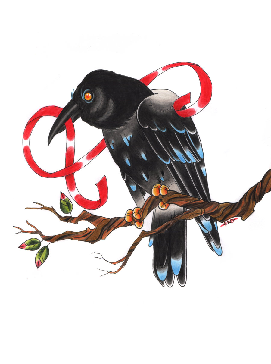 Black raven with blue feathers sitting on branch curled with red stripe tattoo design by C Ko