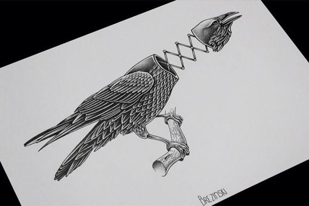 Black raven with spring neck sitting on branch tattoo design by Ilya Brezinski