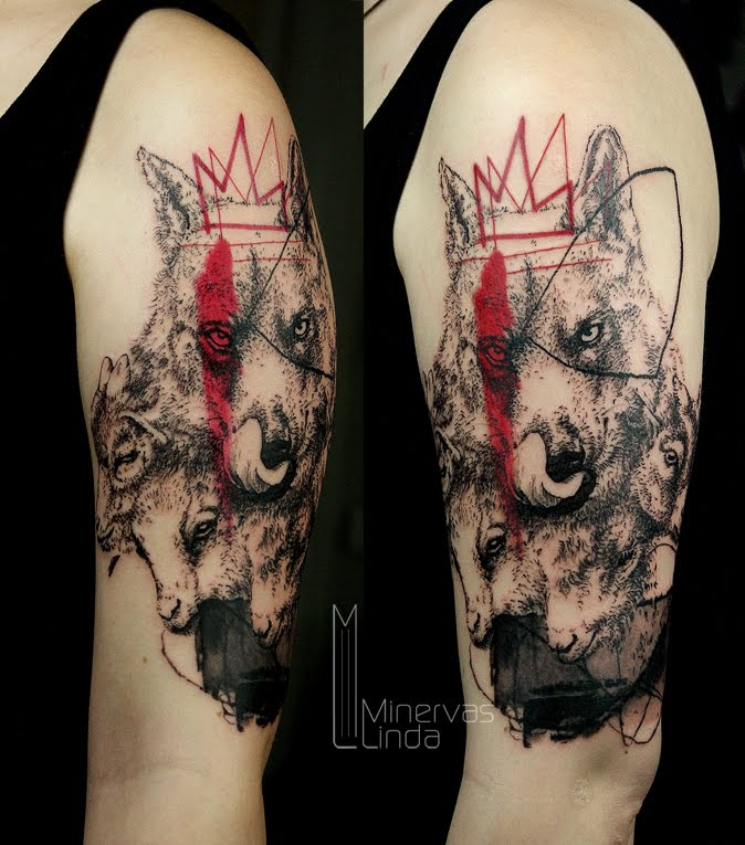 Black red wolf tattoo on shoulder by Minervas Linda