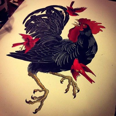 Black rooster escaping from little red birds tattoo design for Funky rooster tattoo and art gallery