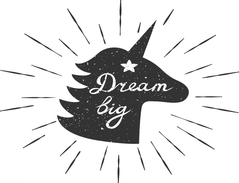 Black shining unicorn silhouette with white lettering tattoo design
