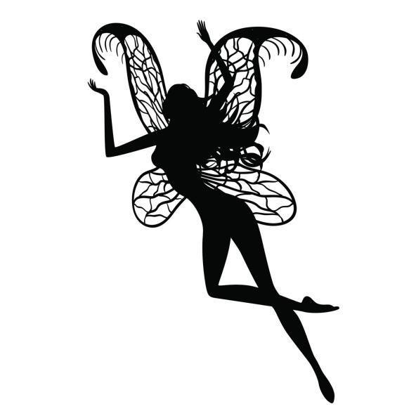 black slim flying fairy with square printed wings tattoo design. Black Bedroom Furniture Sets. Home Design Ideas
