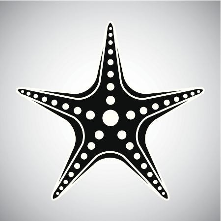 Black starfish with white beads decoration tattoo design