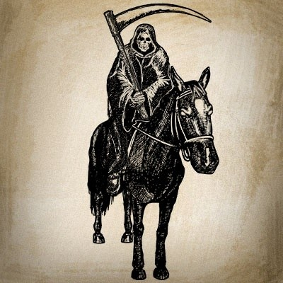 Black tired death riding a big calm horse tattoo design