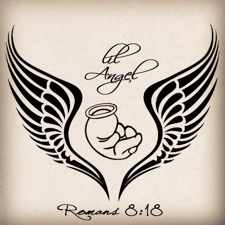 Black tribal angel wings and sleeping baby tattoo design